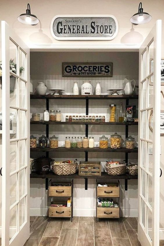 My Pantry GOALS!  I love this farmhouse pantry with double doors!  I have serious pantry envy going on!