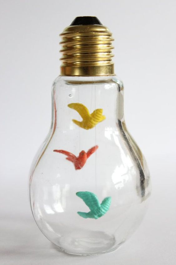 Little bird light display - home decor - Mothers day - art - light bulb - doves