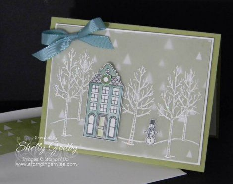 The Stampin' Up! Holiday Home and White Christmas Stamp Sets each have more than enough stamps to use alone for a variety of great cards. But having both is phenomenal! They play very, very well together. Watch as I show you how to make my pretty handmade Christmas card with both White Christmas and Holiday Home Stamp Sets. Order by January 5, 2015 in my online store http://www.shopwithshelly.com