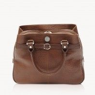 """E-GO Collection by Jill-e Designs Rich brown croc leather career bag with padded protection for 12"""" laptop and tablet"""