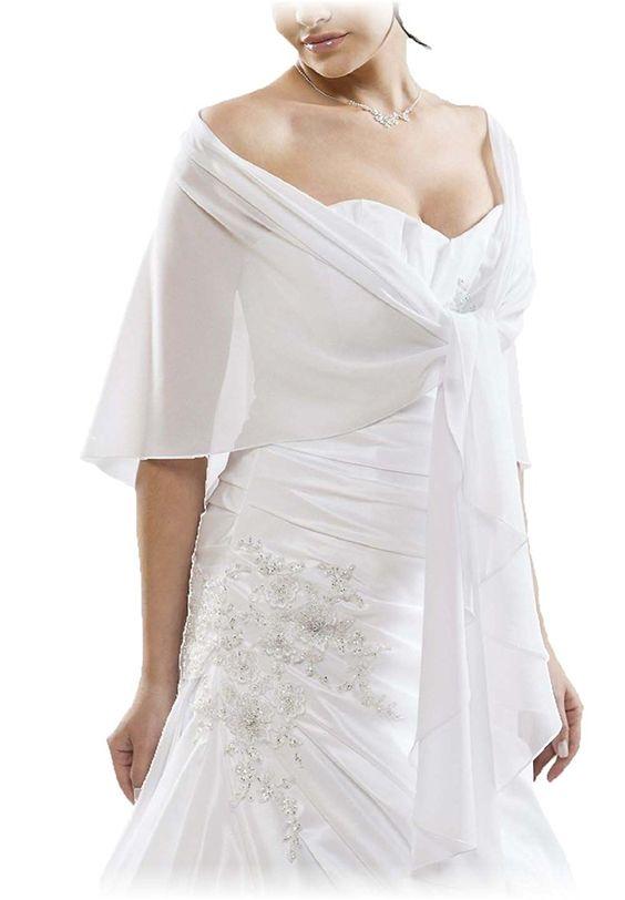 Mousseline Boléro parfaitement à tout robe du soir, ne glisse pas - BLANC - env. 245 cm de long - Taille unique: Amazon.fr: Vêtements et accessoires