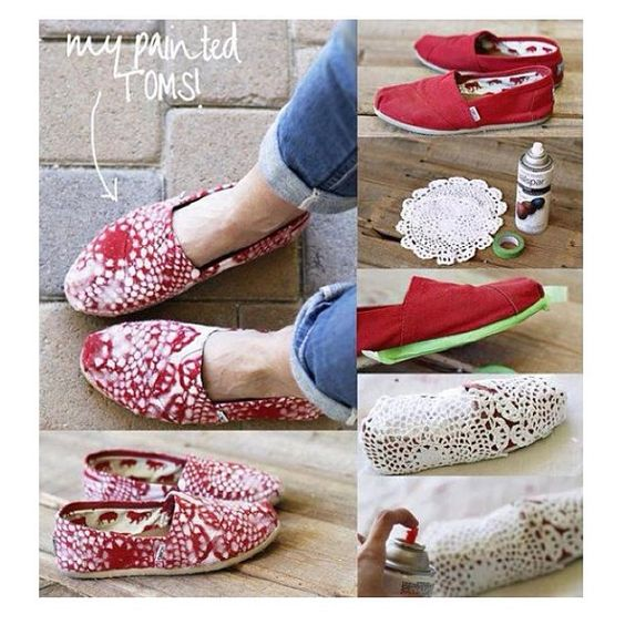 DIY shoes: Decorate with Doilies