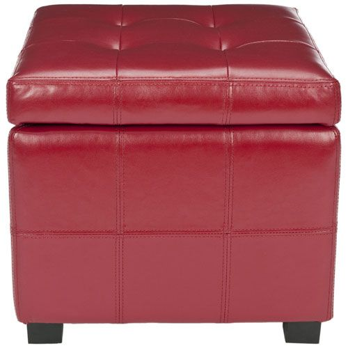 Red Leather Tufted Storage Ottoman Storage Ottomans Ottomans Living Room Furniture