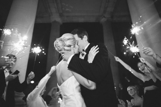 sparklers to cheer on newlyweds
