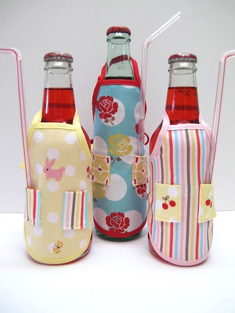 Serve sodas in high style with this Apron Bottle Cover Tutorial. Too cute for words!