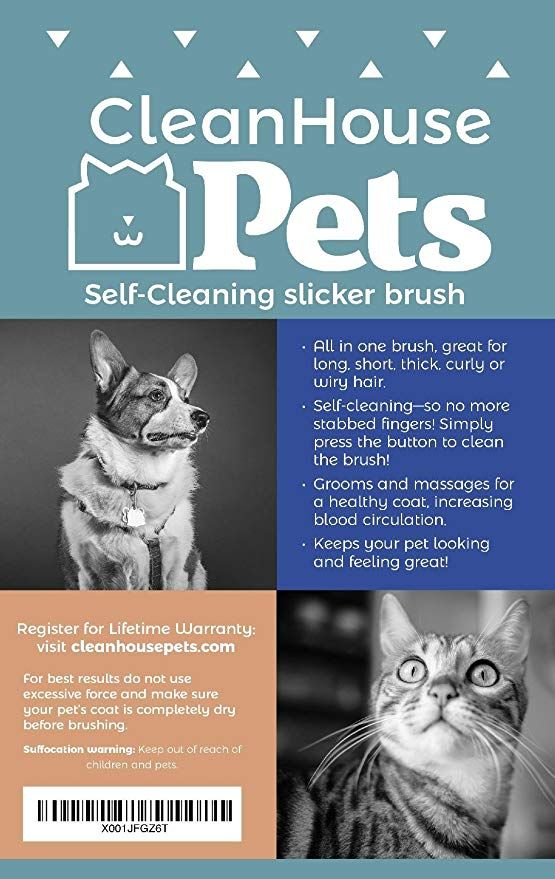 Cleanhouse Dog And Cat Hair Brush No More Shedding Easy Self Cleaning Button Pro Grooming Brush Removes All Hair Tangl Dog Grooming Diy Dog Grooming Pets