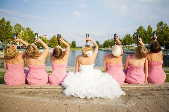 I want to do this at my wedding with the bridesmaids -- but champagne bottles instead!!