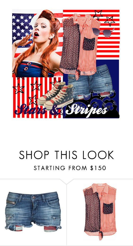 """""""celebration!!"""" by peace-marine ❤ liked on Polyvore featuring Rockstar Sushi, Equipment, Charlotte Russe, stripes, blue, white, stars, red and black"""