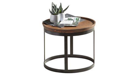 Beistelltisch Mangoholz Massiv Rund Braun Schwarz Schwarz Braun Basics Holz Metall 43 35cm Ambia Home Tisch Mangoholz Beistelltisch