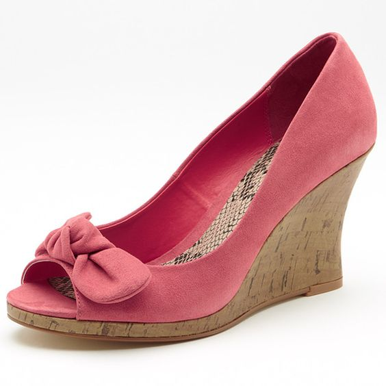 Go from desk to dinner in these stylish peep toe wedges with bow embellishment. With a stylish cork wedge and padded footbed for extra comfort. Match with jeans or your favourite summer dress. Other colours available. Sizes 6-11.