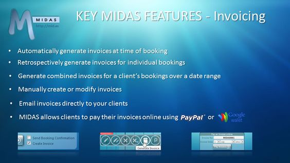MIDAS can instantly generate a wide range of graphical statistical - generate invoices