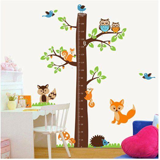 SugarM Large jungle owl tree wall sticker baby boys girls bedroom growth chart…