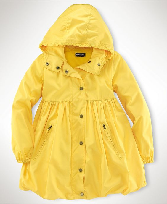 Classic yellow raincoat with a feminine twist - so darling! Ralph