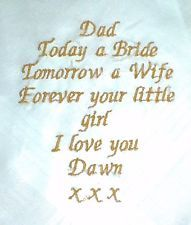 Dad Personalised Embroidered Handkerchief - Wedding - Gents - Man - Present Gift