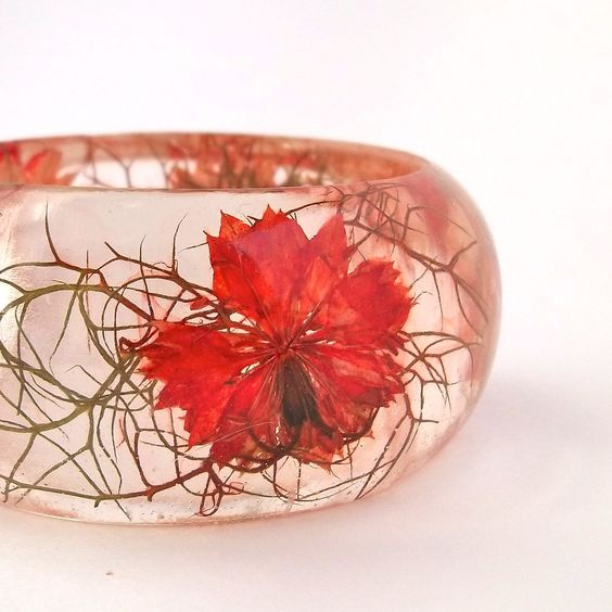 Orange Nigella Resin Bangle Bracelet  by SpottedDogAsheville, $44.00