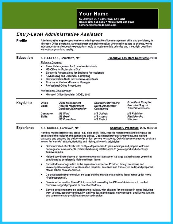 Resume, Resume examples and Get the job on Pinterest - executive administrative assistant resume examples