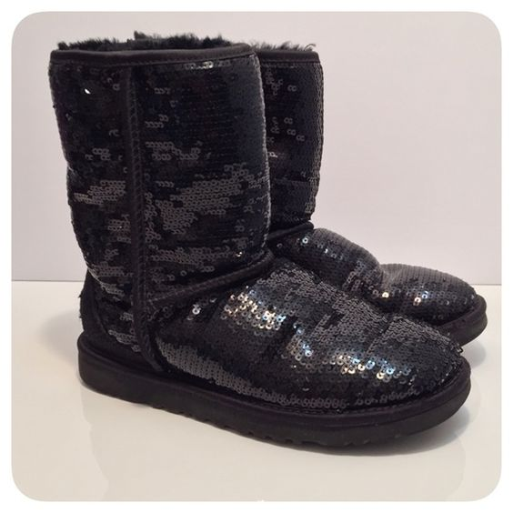 Authentic UGG Black Sequin Classic Short Boots UGG Classic short boots with allover black sequins! Can dress up any casual outfit! Size 6 womens. Great overall condition    Worn a few times  Hardly any wear on soles  Minor scuffs on front toe area (see pics)  A few missing sequins on left front toe (maybe 3-4 sequins... Not noticeable)  Size 6 womens   Ships in 1-2 Bus Days! UGG Shoes Winter & Rain Boots