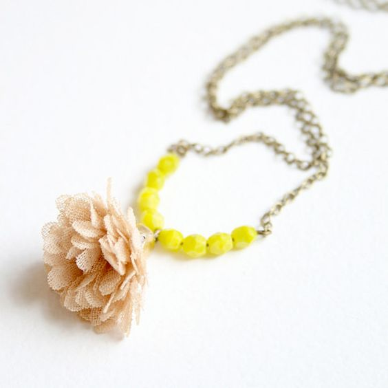 Chartreuse necklace- by tamar