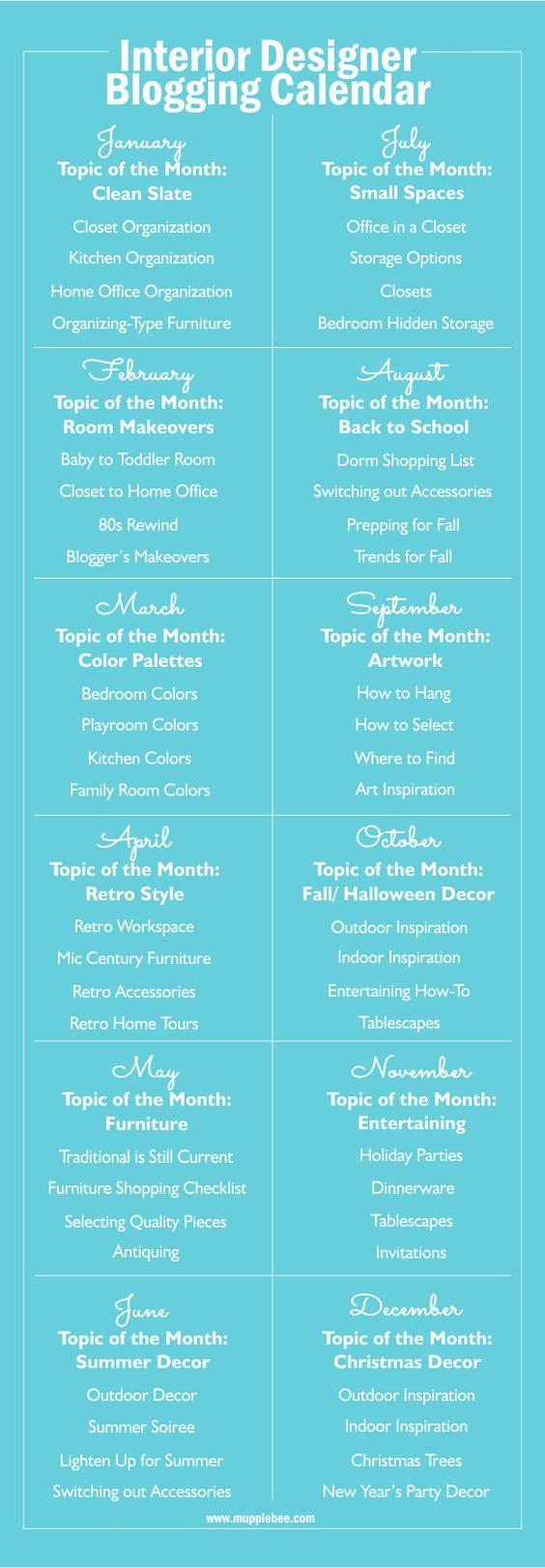 Interior Design Editorial Blogging Calendar