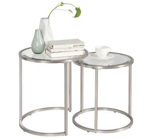 Beistelltisch Set Mit Glas Und Metall Satztische Tisch