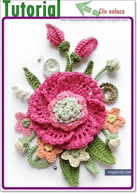 Ideas para el hogar: Tutorial clase magistral como realizar una flor completa en ganchillo