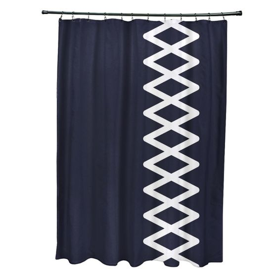 Featuring a lively side diamond stripe geometric pattern, this shower curtain will add a pop of personality your bathroom decor with 12 top button holes for easy hanging.