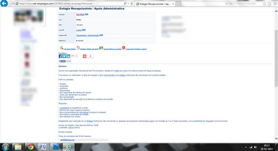 Anúncio 'online' publicado pela CE-CPLP. Fonte: http://www.net-empregos.com/1927623/estagio-recepcionista-apoio-administrativo/#.UwP5iTjiteE.