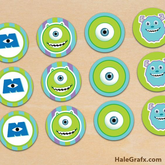 Coloring page monsters inc party decorations free printable free printable monster inc cupcake toppers filmwisefo
