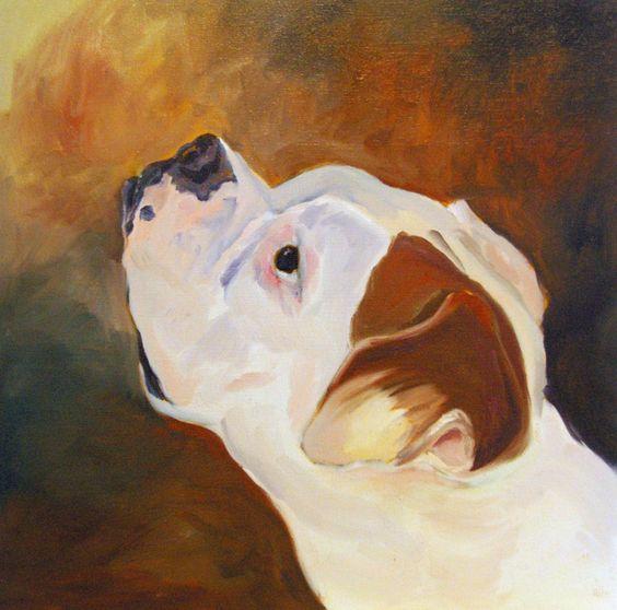 Animal Portrait White Boxer Dog Fine Art Print. Looks just like my Leila!