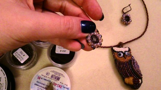 Bead embroidered owl pendant making - Part 1