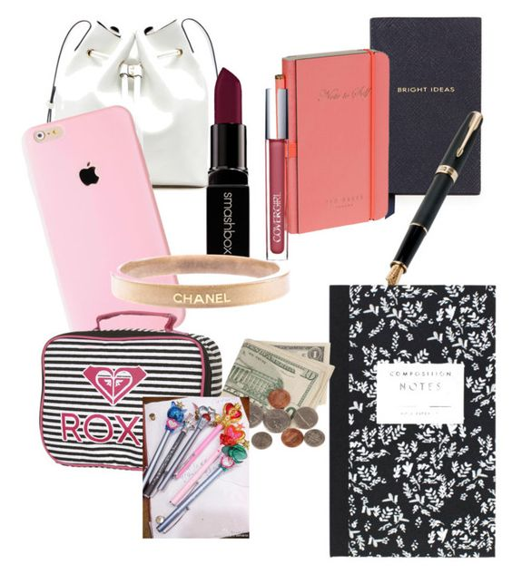 """""""School essentials"""" by olivia1028 on Polyvore featuring beauty, Sole Society, Smythson, Ted Baker, Fountain, Smashbox, Chanel, Dot & Bo and Roxy"""