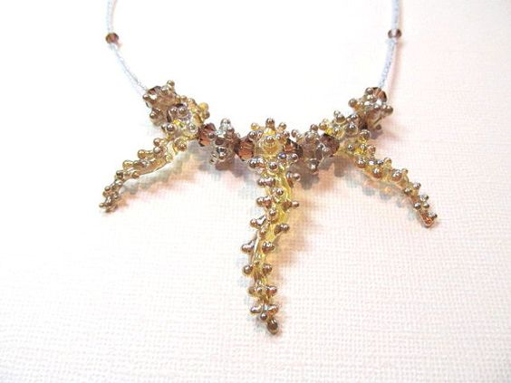 Necklace amber silver boro glass lampwork by KeepsakeDesignsbyCMM