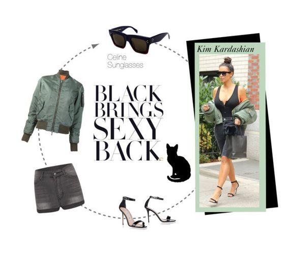 """Kim Kardashian in Green and Black"" by smartbuyglasses ❤ liked on Polyvore featuring Unravel, Manolo Blahnik, Cheap Monday, kimkardashian, CelebrityStyle, celinesunglasses and celinsunglasses"