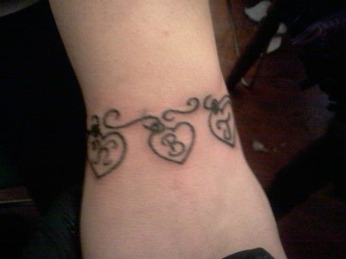 Charm bracelet tattoos with initials of each kid colored for Tattoos with birthstone colors