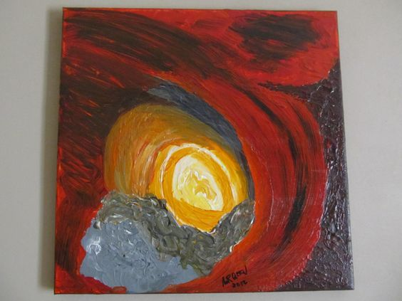 "Abstract Modern Art - Volcanic Eruption (Abstract, Original, Acrylic Paint on Stretched Canvas - 40 cm x 40 cm / 15 3/4"" x 15 3/4"") by PSJewellery4u on Etsy https://www.etsy.com/listing/233636531/abstract-modern-art-volcanic-eruption"