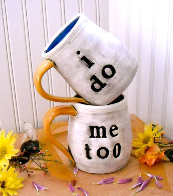 Personalized Wedding Mugs  I DO Me TOO  2Piece SET by LoveArtWorks, $86.00