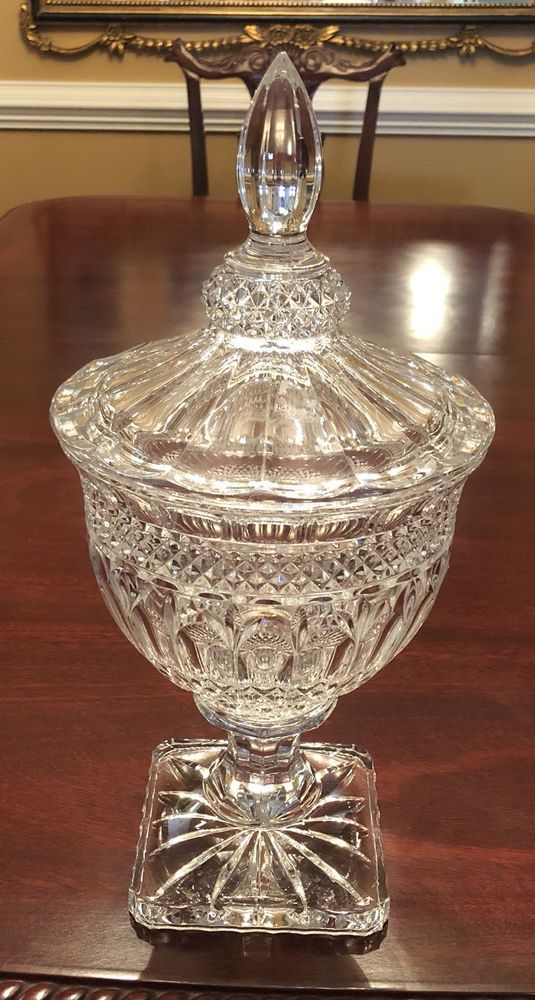 Vintage Lidded Candy Crystal Glass, Clear Glass Pedestal Candy Dish With Lid