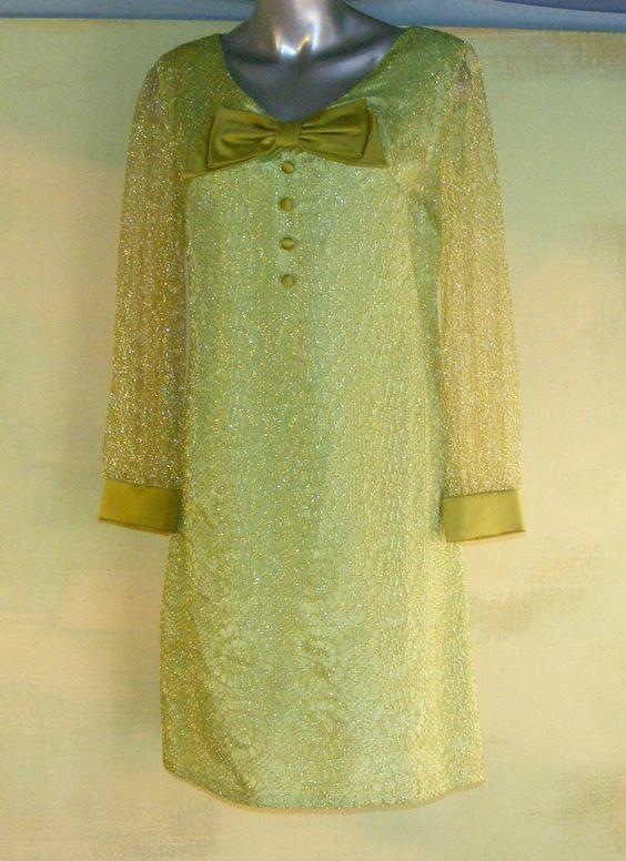 M 60s Vintage Electric Green Gold Lace Dress Mod Neon Medium