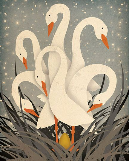 Ryan Fowler's Six Geese-A-Laying, part of an exclusive #TwelveDaysOfArt collaboration with Surround Yourself + @greatbigcanvas #holidaydecor #holidays #12DaysOfChristmas