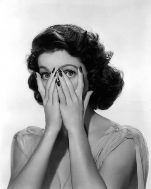 Loretta Young peek-a-boo eyes