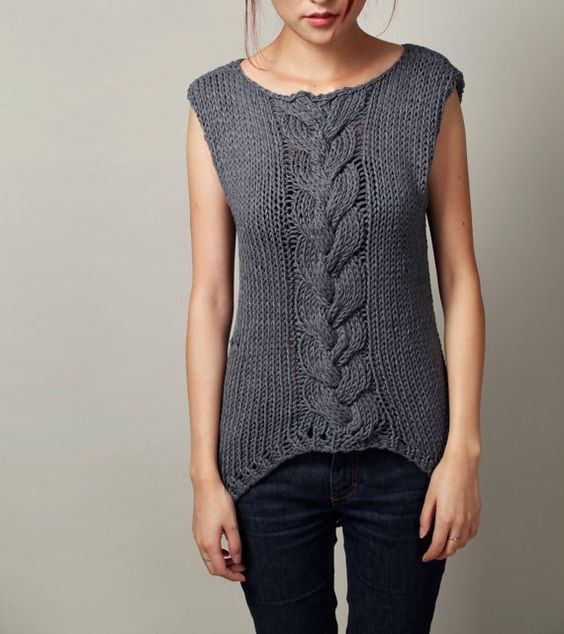 Tunic Sweater Knitting Pattern : Hand knitted sweater Charcoal Sleeveless Tunic sweater cable pattern Cable,...
