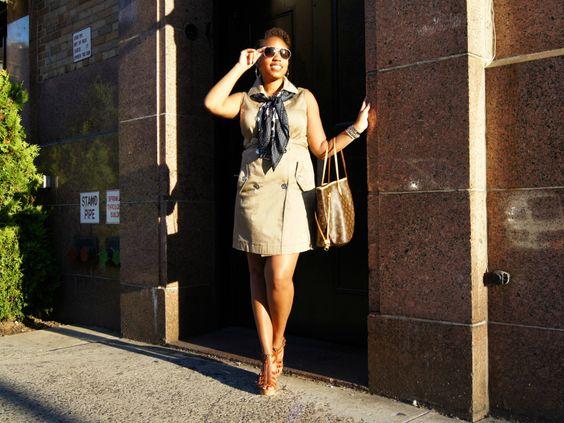 khaki sleeveless dress, brown heels, navy scarf