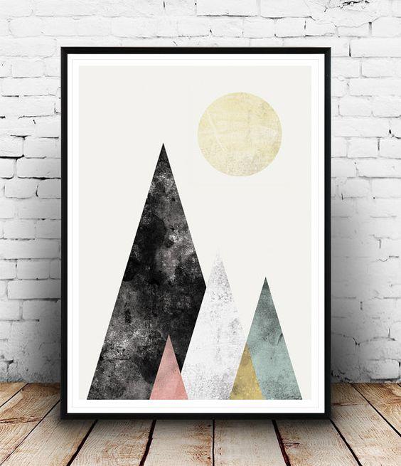 Geoemtric print Aquarell Druck abstrakte Poster Berge von Wallzilla