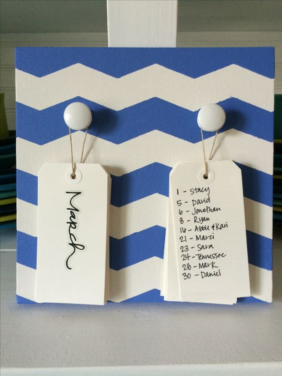 Birthday Board: mine is a little different than the original pin I saw of this. Since I have so many birthdays to include, I opted for two separate tags, one for month, and one for days. Mine is a canvas instead of wood. The tags are just cardboard pre-made tags from Hobby Lobby. Wooden knobs from there as well, and twice to hang them. The months are stickers- my handwriting isn't THAT nice! And used chevron tape for the first time and it worked well! I'll never forget a birthday again!