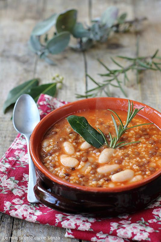 Bean, lentil and millet soup