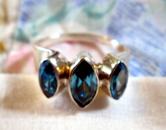 RING   Blue TOPAZ  TRIPLE  Marquise   925  by MOONCHILD111 on Etsy, $22.95 https://www.etsy.com/shop/MOONCHILD111