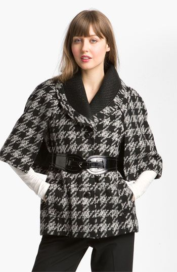 YES PLEASE!!!    GUESS Belted Houndstooth Check Capelet available at #Nordstrom
