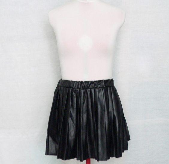 Black pleated leather skirt