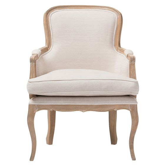 "Who would expect such attention to detail in discount furniture? Our Napoleon Traditional French Accent Chair defies expectations with classic contouring, careful color coordination and durable construction. The Napoleon's cedar frame and distressed brown-oak finish (with white streaking) recall the classics of yesteryear…without the collectible price tag. Utmost comfort comes courtesy of cotton upholstery. 36""H x 25.2""We x 22.6""D, SEAT 20.5""H X 22.75&..."
