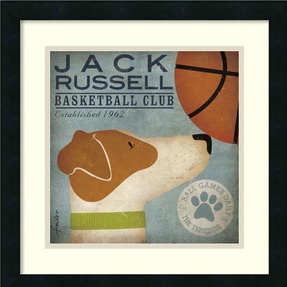Jack Russell Basketball Framed Graphic Art